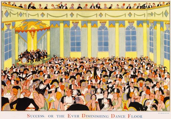 Humorous illustration by Leslie Butler showing an unfeasibly crowded, popular restaurant, with tables crowded together and waiters struggling to reach customers between the very few gaps. In the centre of the room, a tiny dancefloor, all that is left