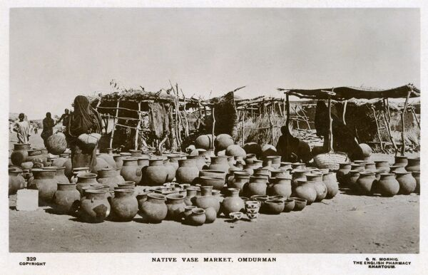 Sudan - Native Vase Market at Omdurman. The site of the Battle of Omdurman on 2nd September 1898. Winston Churchill famously rode with the 21st Lancers - three Victoria Crosses were awarded as a result of the action. Date: circa 1910s
