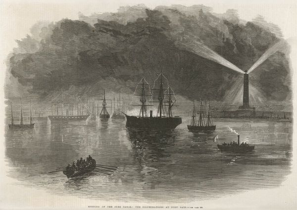 Illuminations at Port Said celebrate the official opening of the Canal, though some ships have been passing through for several months. Date: November 1869