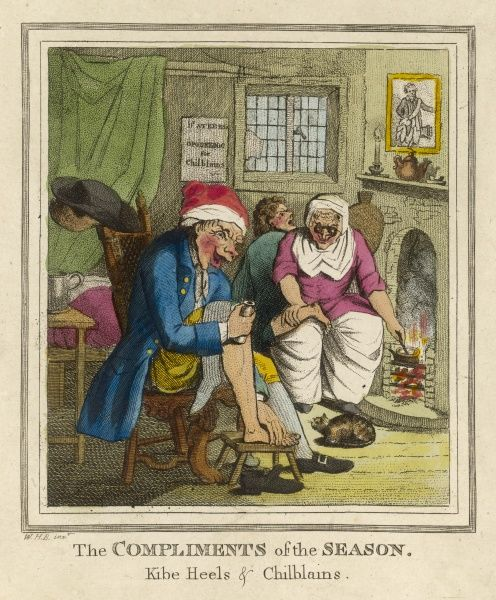 An unfortunate man rubs ointment on his chilblained feet, while his wife looks on sympathetically