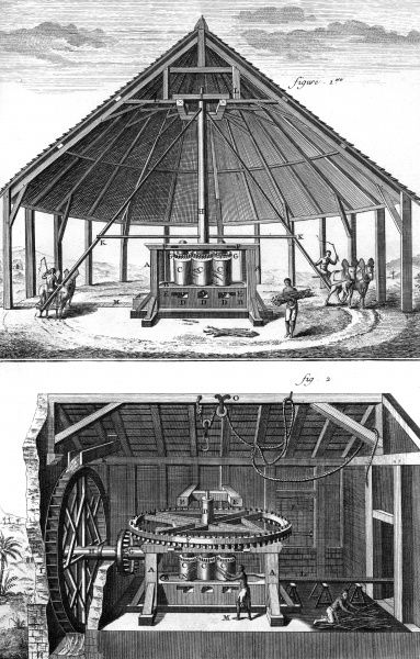 SUGAR PRODUCTION Two mills used as sugar cane press in the French West Indies in the 18th Century. One is moved by animals, the other is a water mill. Date: circa 1760