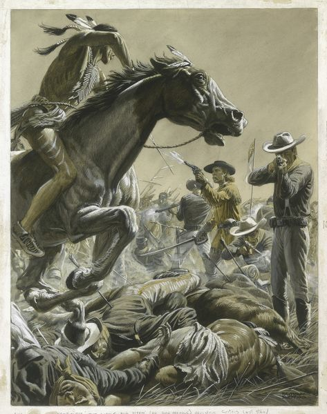 Suicide on the Little Big Horn. Custer's Last Stand in 1876 when he led the 7th Cavalry Regiment of the United States Army into battle with the Lakota and Northern Cheyenne Native American tribes near Little Bighorn and suffered a heavy defeat