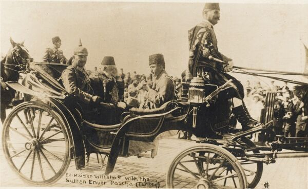 Sultan Mehmed V Reshad of Turkey in a carriage with Kaiser Wilhelm II of Germany and Minister for War, Enver Pasha