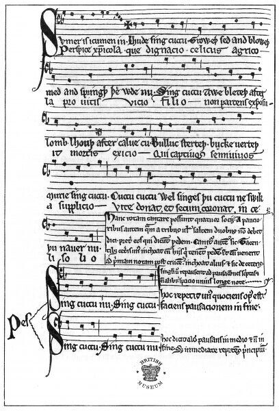Song for four tenor voices, probably written by John of Fornsete, of Reading Abbey, England : the complexity of the writing is remarkable, puzzling music historians. Date: 13th century