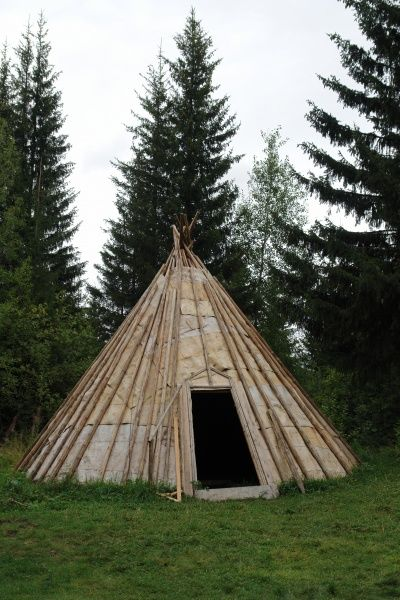 A summer dwelling of the Khanty tribe on display at the open air Okrug Ethnographic Museum (Torum Maa) in Khanty Mansiysk, Western Siberia, Russia