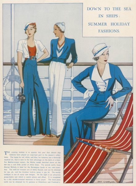 Nautical holiday outfits from 1932, including palazzo pants and berets