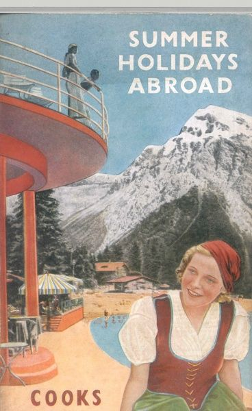 Cover illustration for Summer Holidays Abroad with Cooks, showing an alpine spa scene with mountains, a swimming pool, and a young woman in Austrian traditional dress