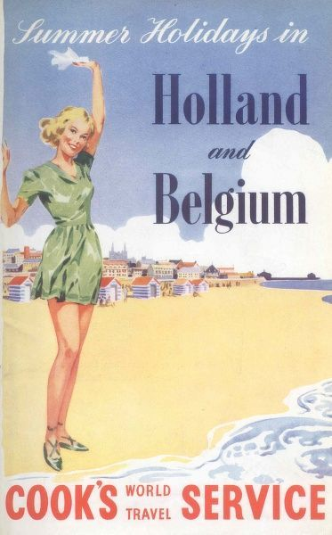 Cover illustration for Summer Holidays in Holland and Belgium, Cook's World Travel Service. A young woman in a short green dress stands on the beach waving a handkerchief. A seaside resort can be seen behind her
