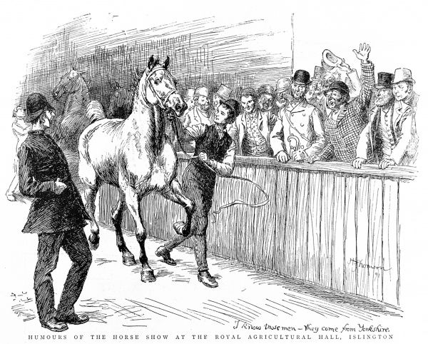 Engraving of a scene at the Summer Horse Show, Royal Agricultural Hall, Islington, London, May 1892. The original caption read 'I know those men - they come from Yorkshire&#39