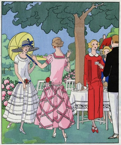 Three fashionable young ladies in summer outfits, at a garden party. On the left, a white organdy dress with blue ribbon trimmings and a colourful nosegay at the front, by Jean Patou. In the middle, a pink organdy dress trimmed with matching velvet ribbons