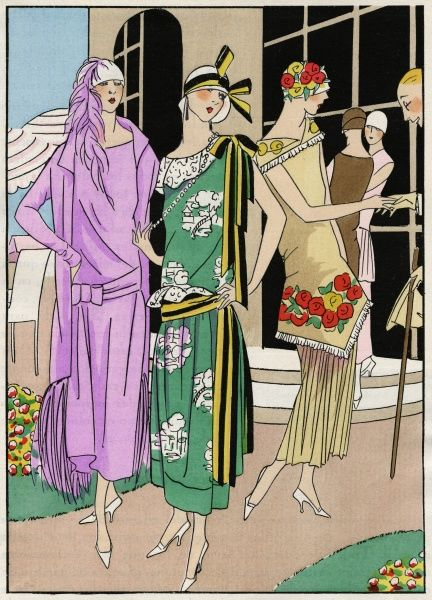 Three fashionable young ladies in summer daytime outfits. On the left, dress and jacket in mauve crepe, with matching ostrich feathers, by Molyneux. In the middle, a green crepe dress with white cotton details, and yellow and black ribbons, by Doucet