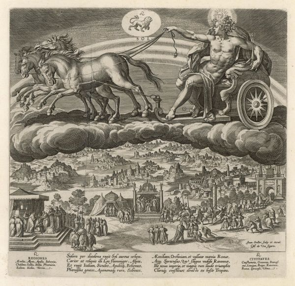 SOL drives his chariot over the Earth, where kings are being crowned, holding court, riding in procession, receiving homage and punishing offenders