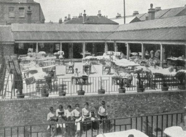 Children being treated on a sun platform at the Princess Mary's Hospital, Wilderness Road, Margate, Kent