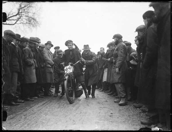 A motorcyclist in a kilt at the 'Old Crocks' motor cycle run, organised by the Sunbeam M.C.C., one of Britain's oldest motorcycle clubs (founded 1924)