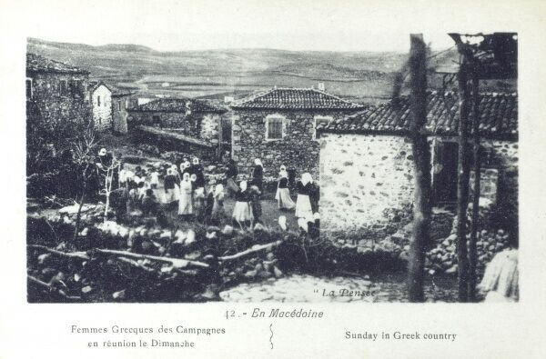 Sunday in 'Greek Country', Macedonia Date: circa 1913