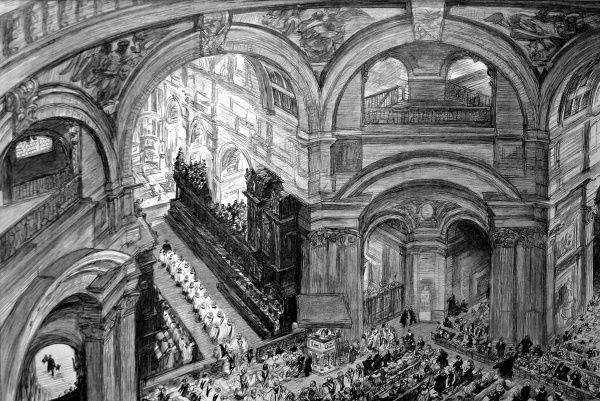 Illustration showing the start of Sunday Morning Service at St. Paul's Cathedral, London, as viewed from the Whispering Gallery, 1895