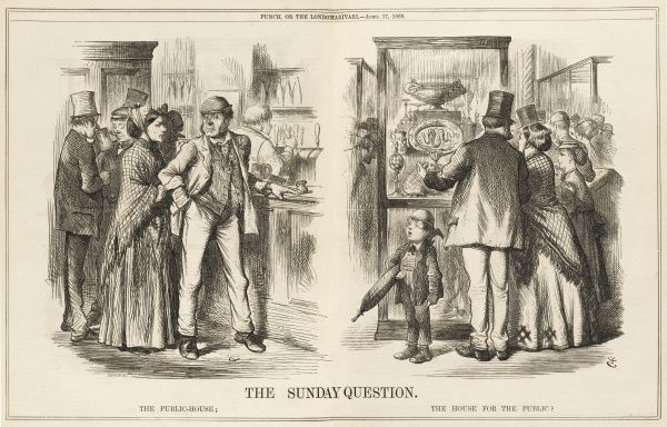 Cartoon asking whether the working class should spend Sunday in the public house, or being educated in a museum or art gallery