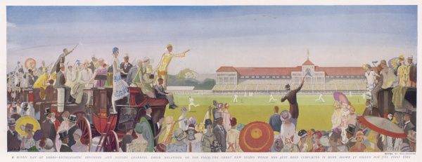 This image shows an enthusiastic crowd watching a cricket match. Painted in 1926 the grand stand can be seen in the distance, which had just been built