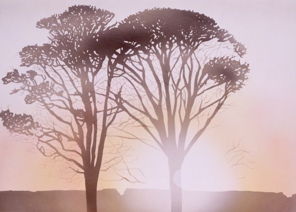 The last rays of the day's sun cast two autumnal trees into sharp silhouette. Airbrush painting by Malcolm Greensmith
