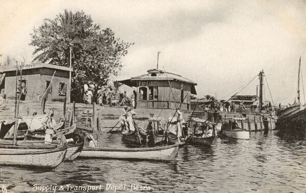 Supply and Transport Depot on the Shatt al-Arab Waterway (which eventually feeds into the Persian Gulf) at Basra, Iraq - WWI era Date: circa 1917