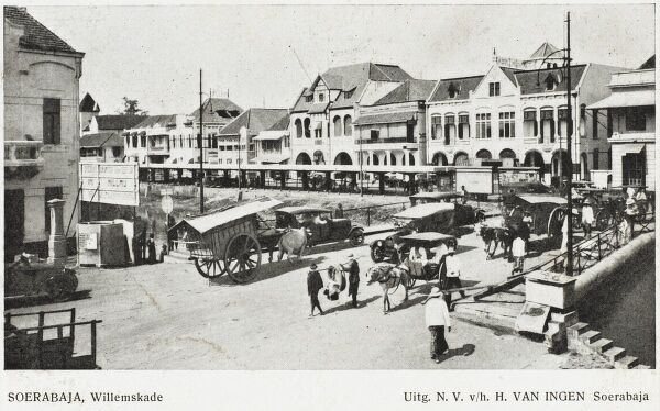 Street scene of the capital of the Eastern Province - Java, Indonesia - now known as Surabaya, previously known as Soerbaja (formerly in the Dutch East Indies). Now the second largest city in Indonesia