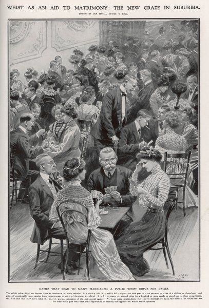 Men and women enjoying a very sociable game of cards at a public whist drive, the new craze in suburbia