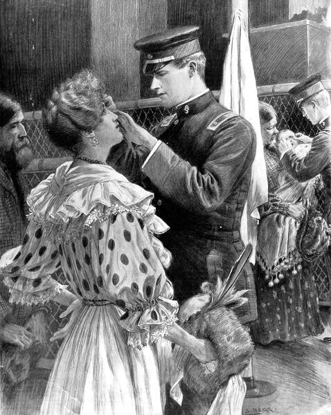 Illustration showing a well dressed female immigrant having her eyes examined for infectious diseases by a doctor at Ellis Island in New York, 1906. In the background a baby is being examined. First class passengers were exempt from the examination