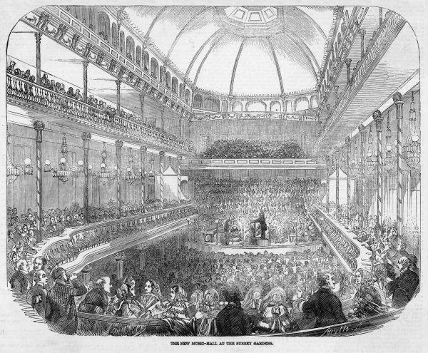 A concert at the new music hall at the Surrey Gardens, London