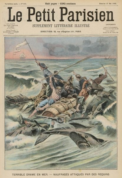 Survivors from the 'Tahitienne', wrecked in the Pacific, are attacked by sharks who seize one after another until only two are left