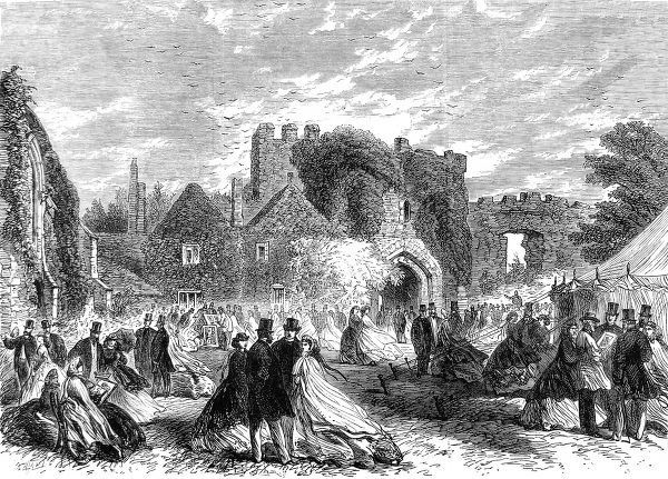Engraving showing the meeting of the Sussex Archaeological Society, in the grounds of Amberley Castle, West Sussex, 1865