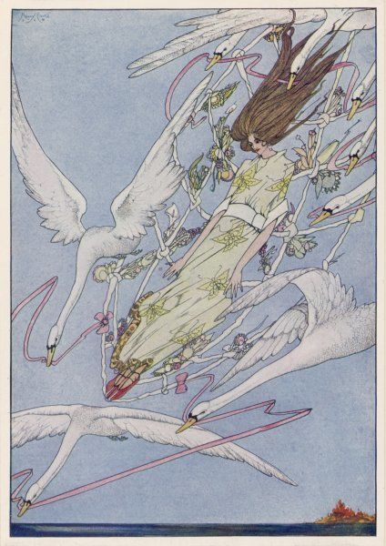 The princess carried by the swans - they are really her brothers, turned into swans by the wicked Queen's magic