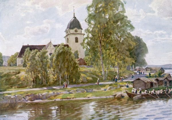 Rattvik, Dalecarlia: people relaxing on a Sunday