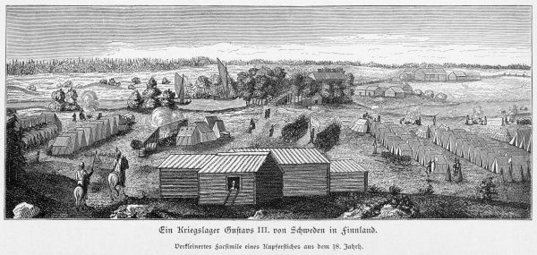The camp of Swedish king Gustaf III in Finland