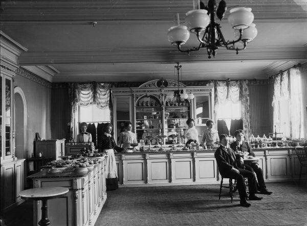 Cafe in Malmo, Sweden, about 1910. Date: 1910