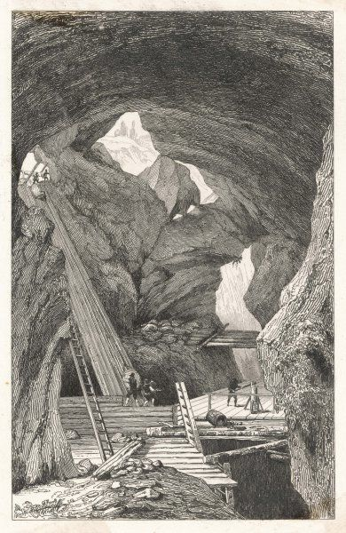 A dramatic view inside the iron mines of Hogborn, Vestmann, Sweden