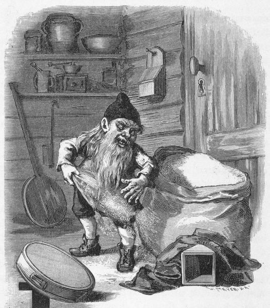 A Swedish Nisse helps himself to the miller's flour Date: 1882