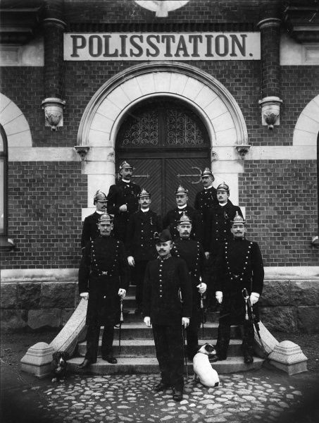 Policemen pose in front of the police station, Trelleborg, Sweden 1899 Date: 1899