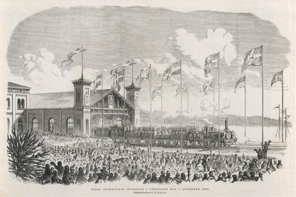 Flags are flying, the crowd cheer and wave, as the first train pulls out of Jonkoping station. Date: 1 December 1864