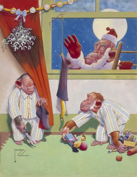 Comic illustration showing two naughty little monkeys in pyjamas tricking Father Christmas (Gran'pop the orang utan) with a bottomless stocking. Date: 20th century