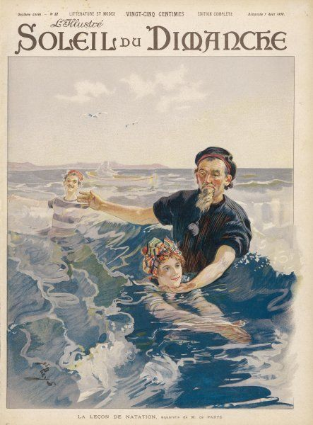 A French lady is given a swimming lesson