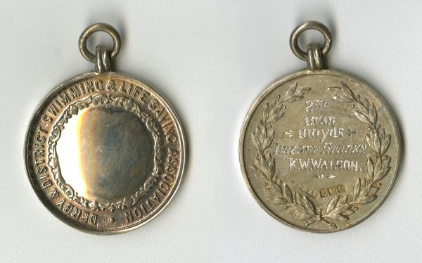 Medal of the Derby & District Swimming & Life Saving Association, awarded to K. W. Watson for coming 2nd in the 100 Yards Breast Stroke. Date: 1933