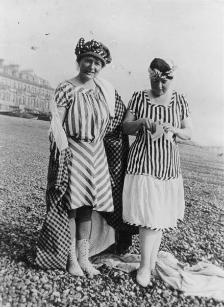 'Auntie Maudie and Auntie Dolly' in their rather O.T.T. stripy bathing costumes at Bognor Regis, Sussex, England! Date: 1910