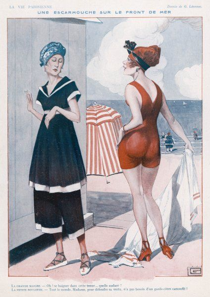 Pre-war & post-war fashions creating a skirmish on the sea front