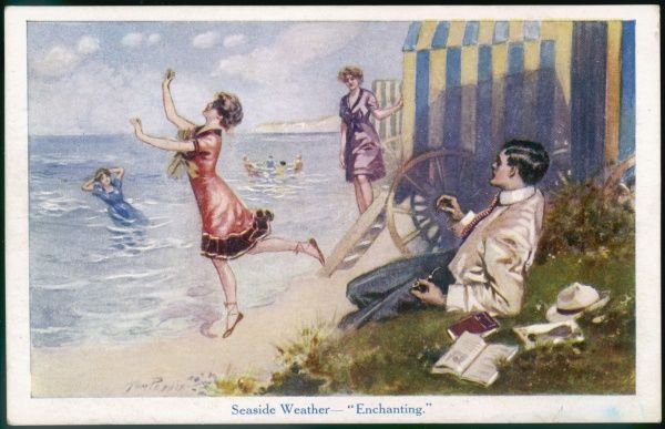 A young man reclining near some bathing machines gets a good view of the young ladies as the frolic & bathe. The modest swimsuits imitate the dresses of the period