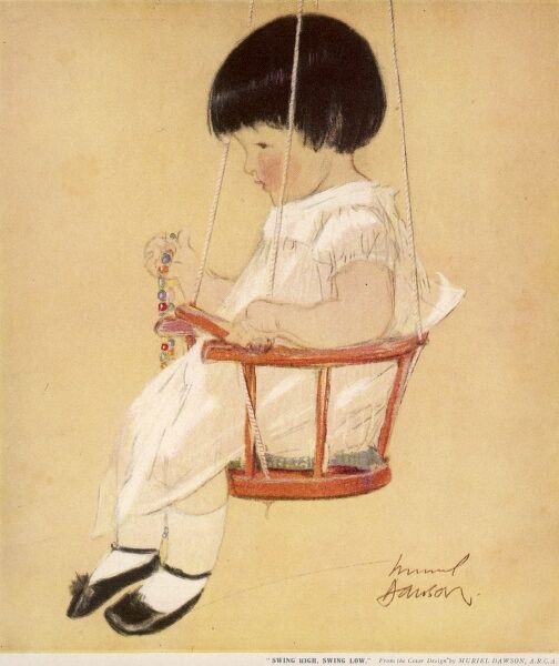 A little girl sits placidly in a baby swing clutching a necklace of brightly coloured beads