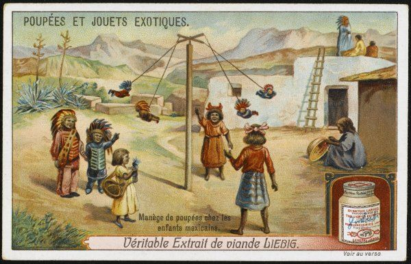 Mexican children having fun with their swinging dolls