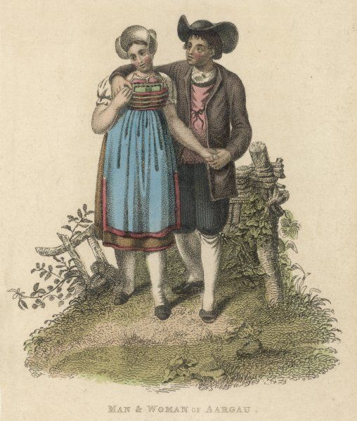A couple from the Swiss canton of Aargau hold hands