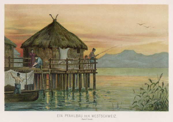 A lake dwelling in western Switzerland in the Stone Age