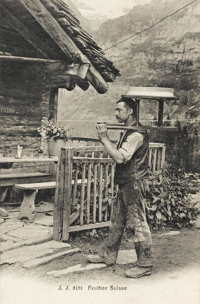Swiss Pudding Merchant (Fruitier), carrying his wares on a wooden shoulder frame
