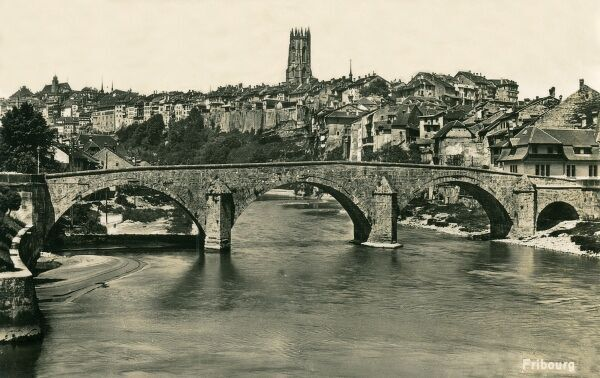 Switzerland - Fribourg - view of the Bridge over the Saane (Sarine) River and the town